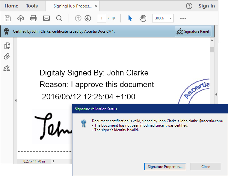 Clicking Signature Properties Button Provides More Detailed Information About The Verification Signer And Timestamp